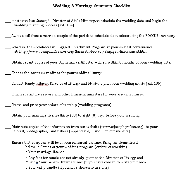 Wedding Summary Checklist 1