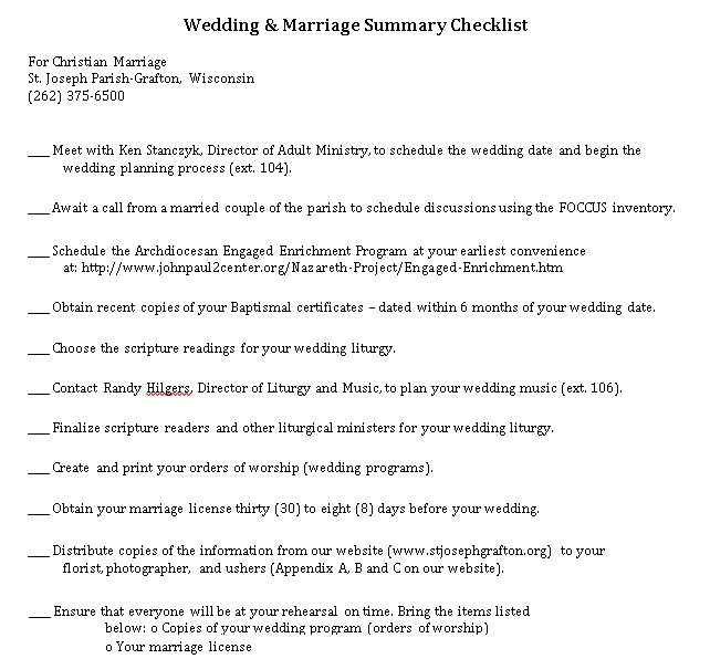 Wedding Summary Checklist