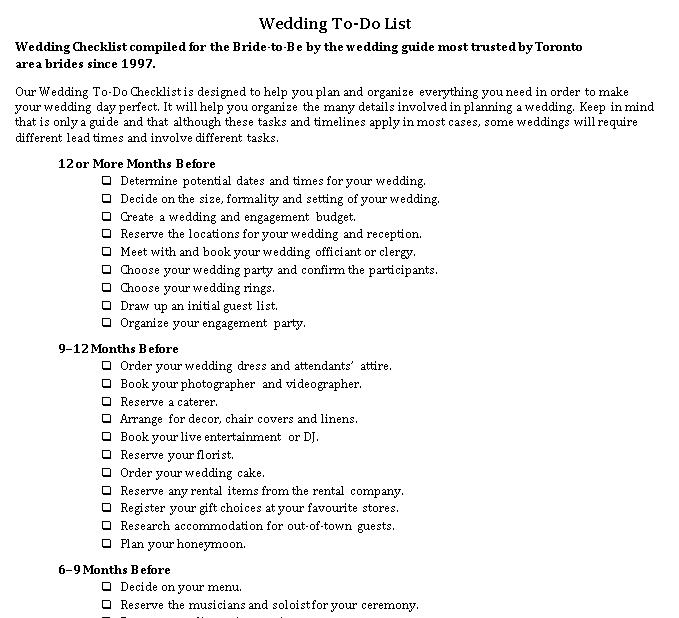 Wedding To Do Checklist Template
