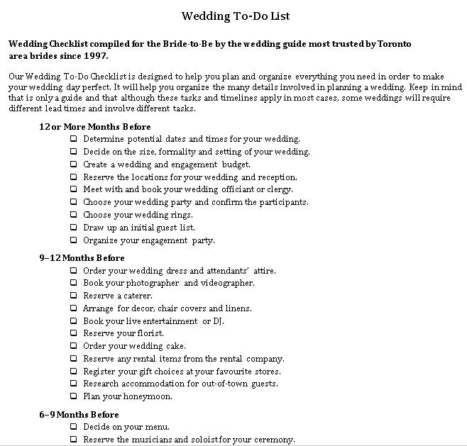 Wedding To Do List 1