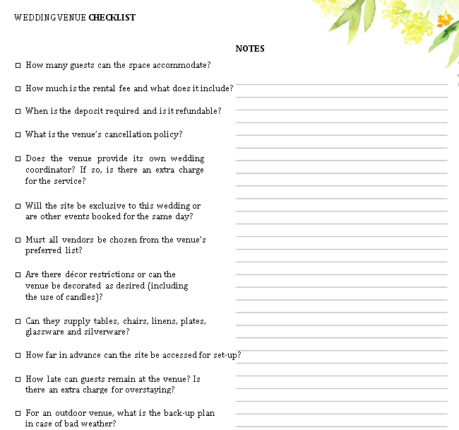 Wedding Venue Checklist Template