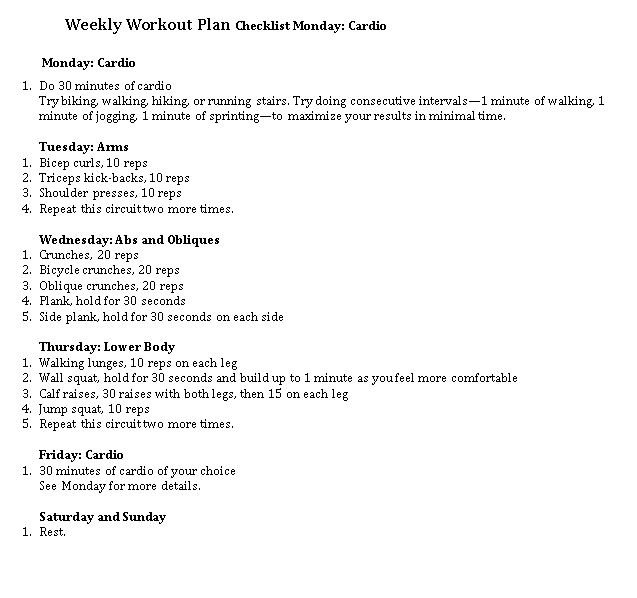 Weekly Workout Checklist Template