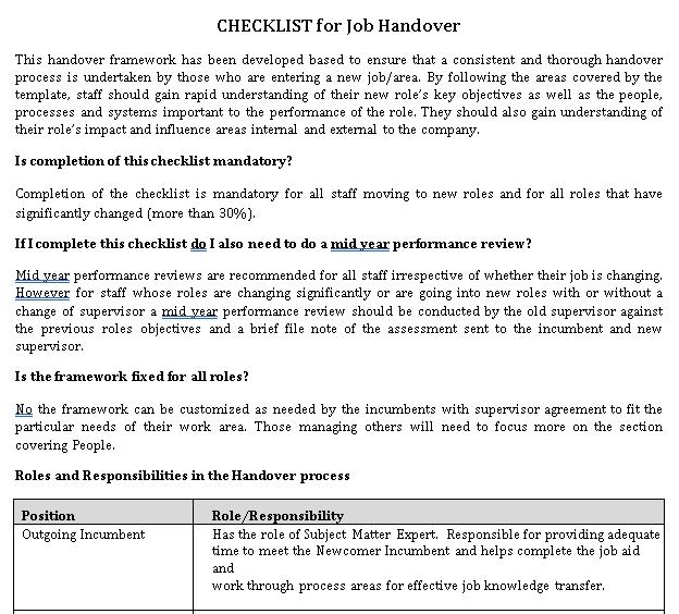 Work Handover Checklist
