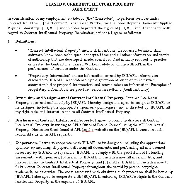 Worker Intellectual Property Agreement Template
