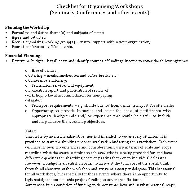Workshop Event Planning Checklist