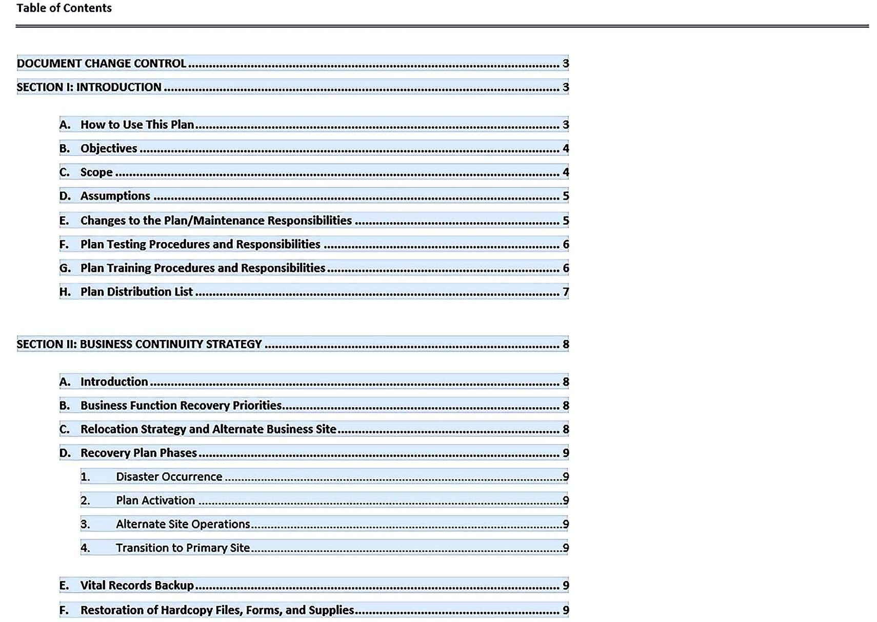 business continuity plan template free