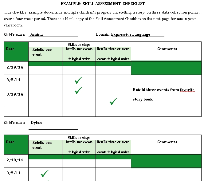 checklist teacher tools skill