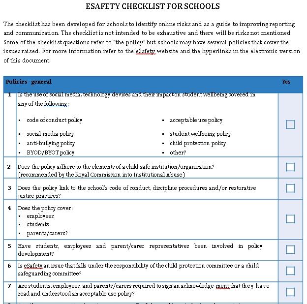 eSafety checklist for schools for school leadership teams PDF