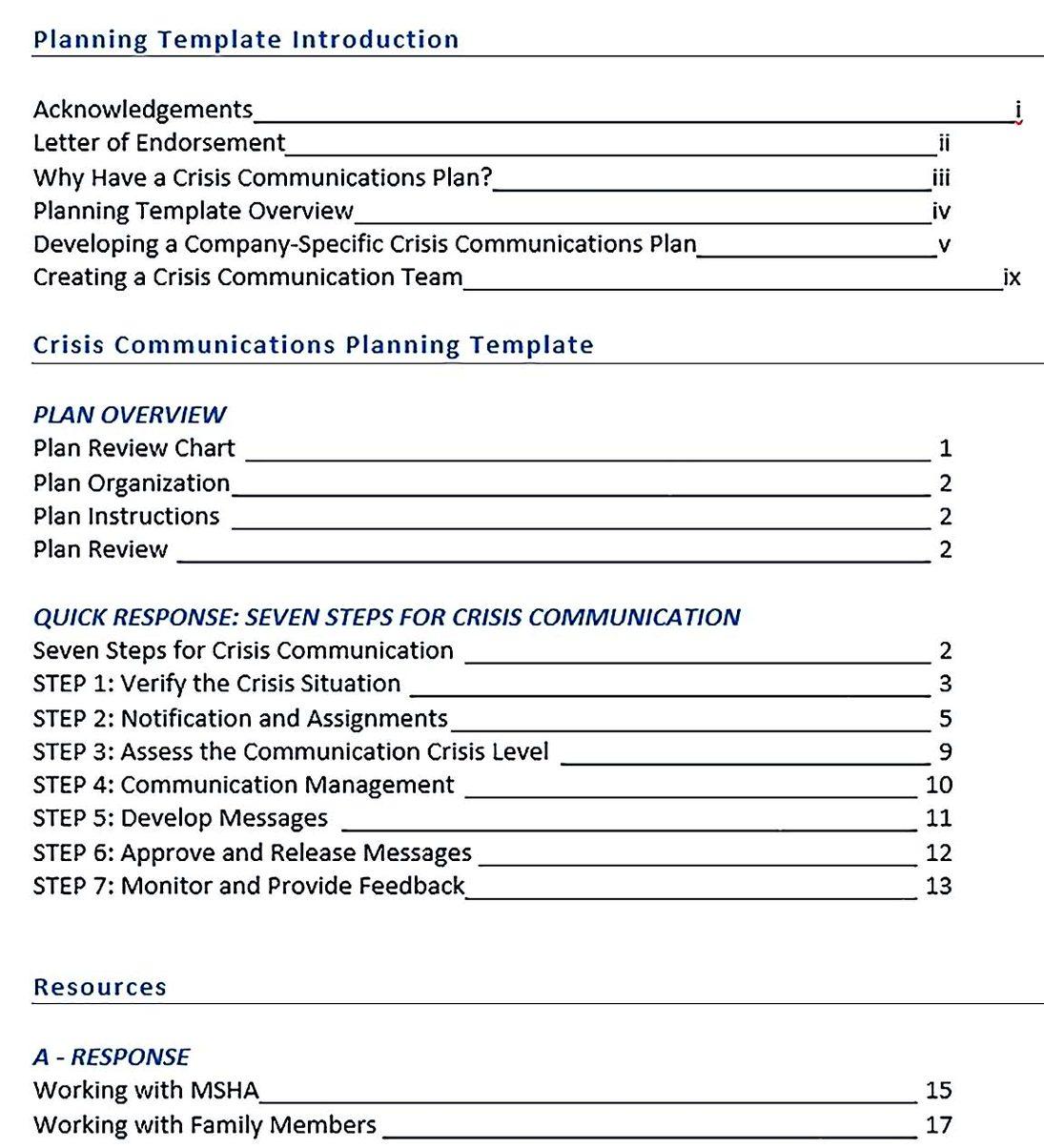 example crisis communication plan template