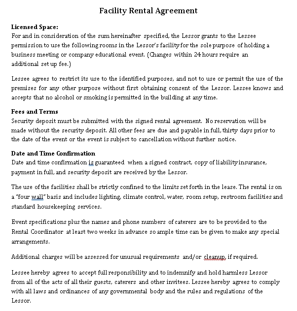 facility rental agreement terms