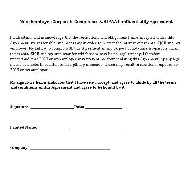 non employee compliance and HIPAA Confidentiality Agreement