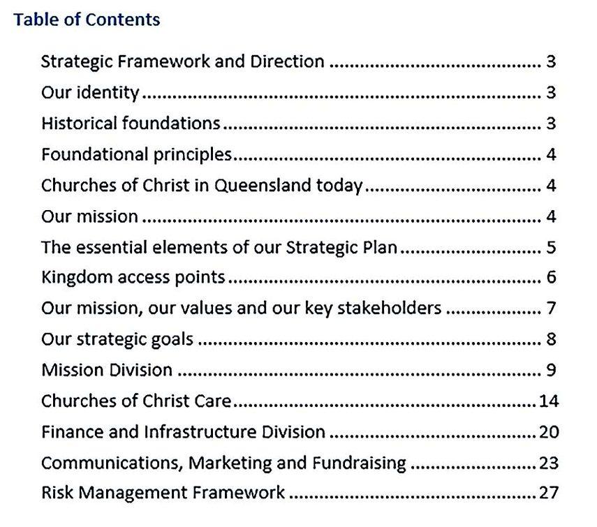 pdf format queensland church strategic plan free template download