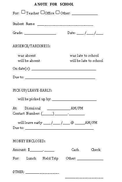 printable parent note form