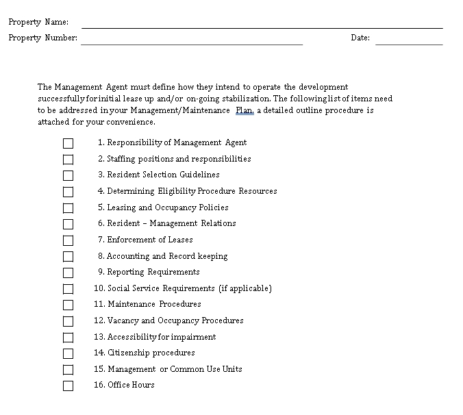 property Managment Checklist Example
