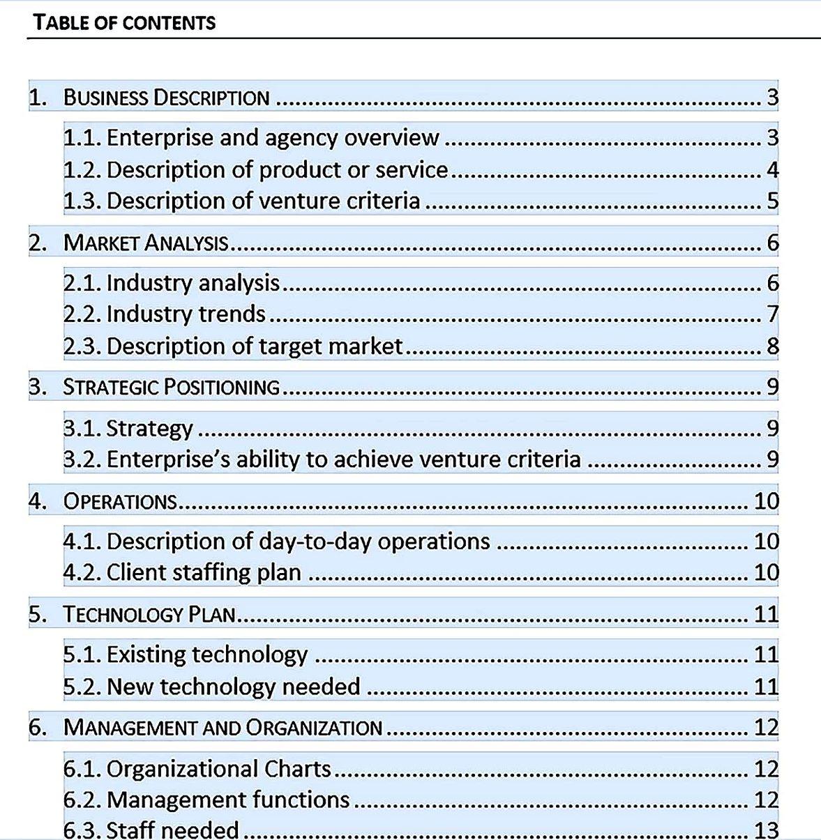 social enterprise business plan template free download in word
