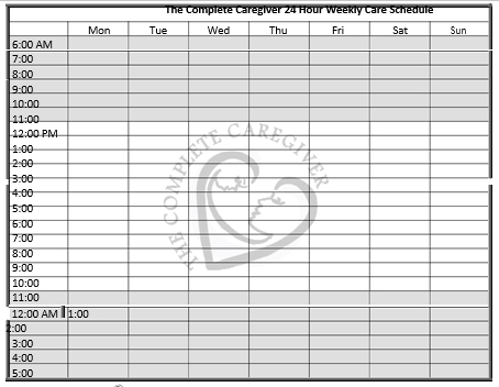 24 hour care schedule medicine chart
