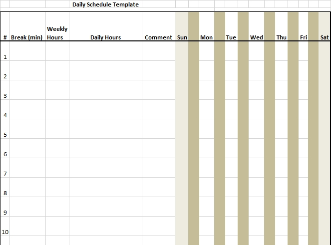 7 Day Schedule in Excel Format