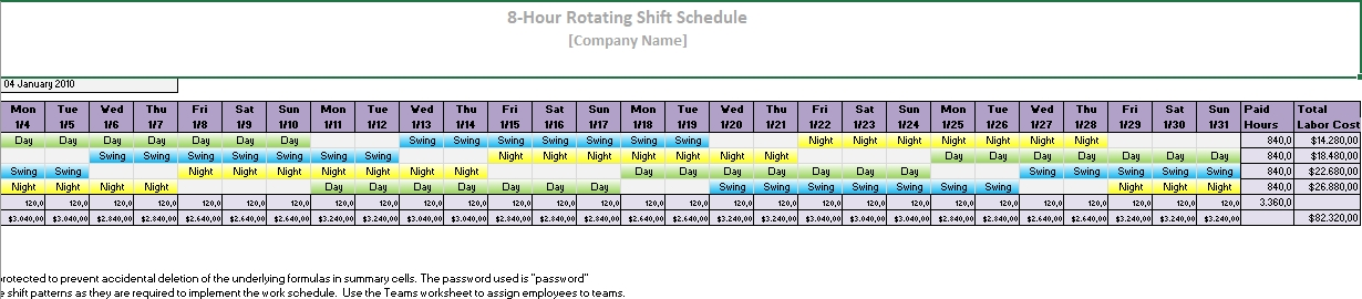 8 Hour rotating shift schedule1