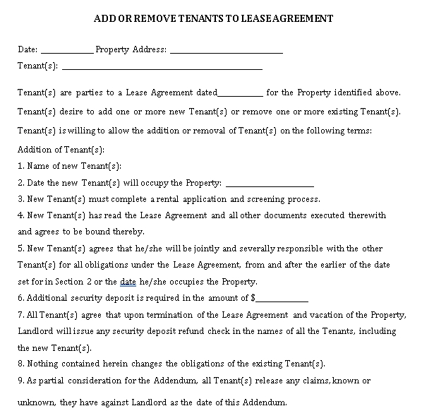 Add or Remove Tenants to Lease Agreement