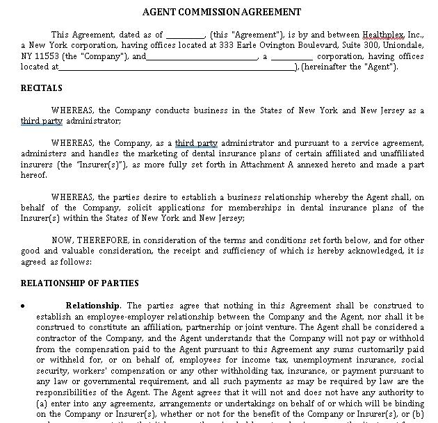Agent Commission Sales Agreement