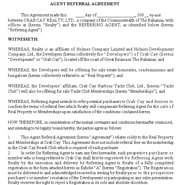 Agent Referral Agreement Template