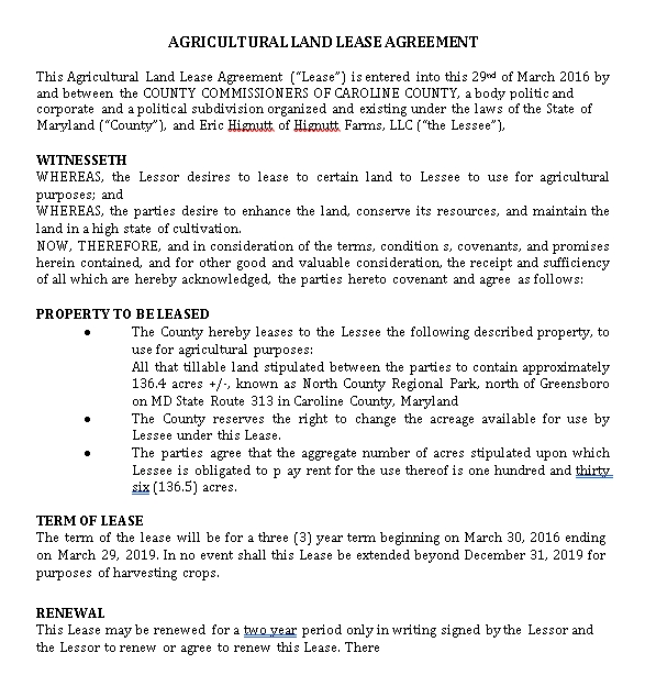 Agricultural Land Rent Agreement