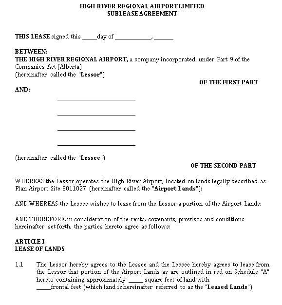 Airport Sublease Agreement Template
