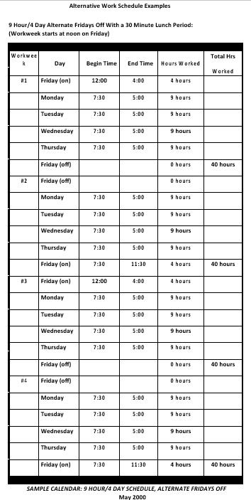 Alternative Daily Work Schedule