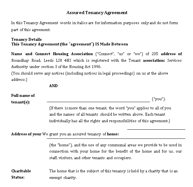 Assured Tenancy Agreement Template