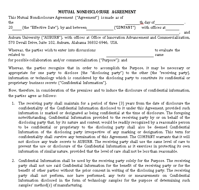 Auburn University Mutual Non Disclosure Agreement