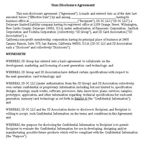 Basic Non Disclosure Agreement PDF