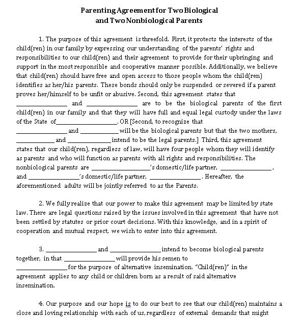 Basic Parenting Agreement Sample