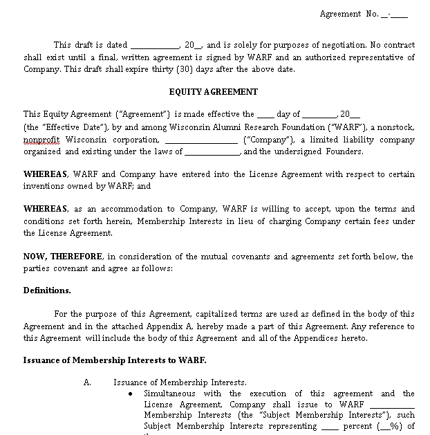 Basic Real Estate Equity Share Agreement