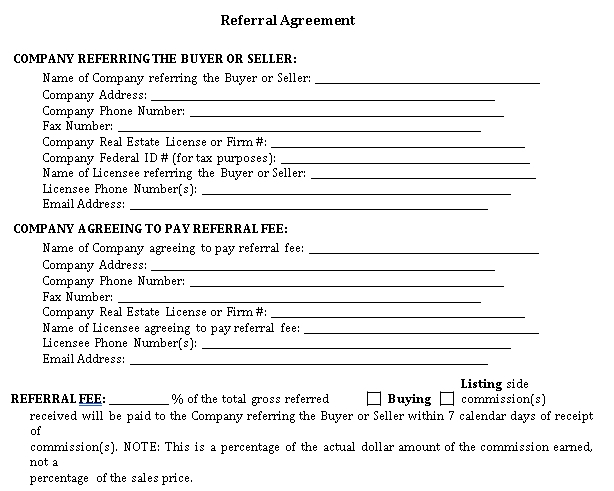 Basic Real Estate Referral Agreement Template