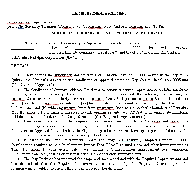 Basic Reimbursement Agreement Example