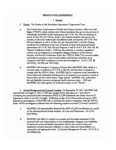 Basic Resolution Agreement Template