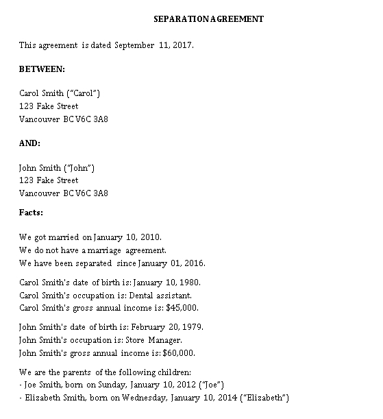 Basic Separation Agreement Template