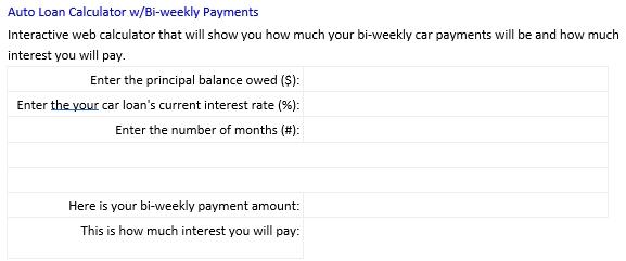 Bi Weekly Car Loan Amortization Schedule