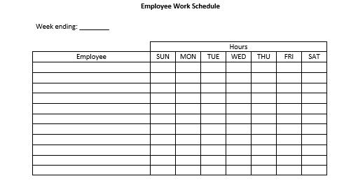 Blank Employee Daily Work Schedule