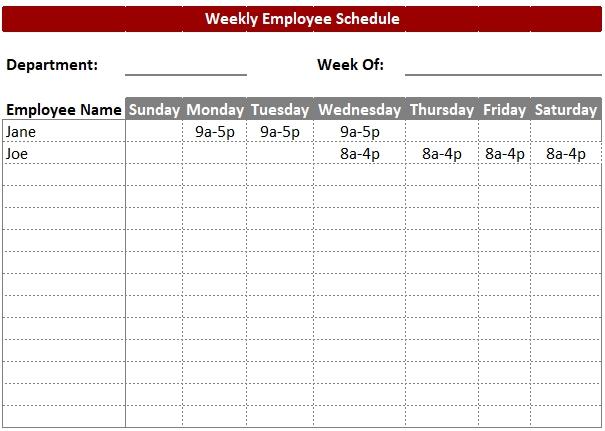 Blank Employee Work Schedule