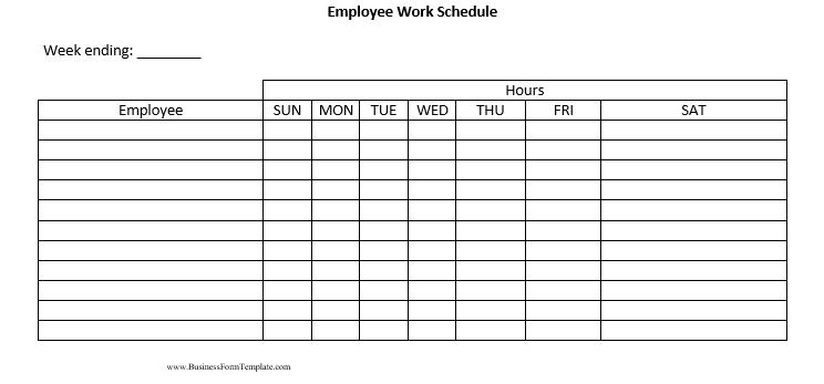 Blank Employee Work Schedule Word Doc 1