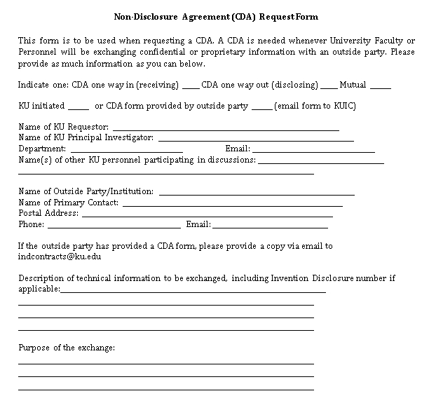 Blank Non Disclosure Agreement Request Form