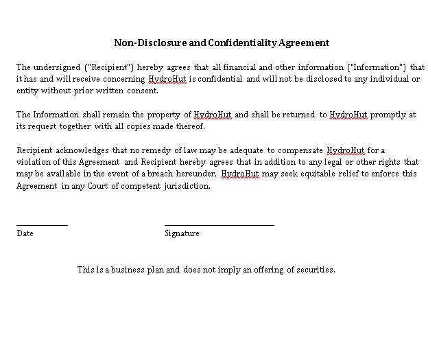 Blank Resto Bar Non Disclosure Agreement Template