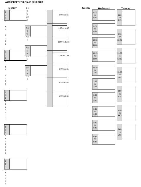 Blank School Schedule Printable