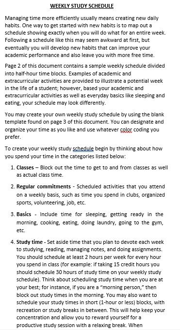 Blank Weekly School Schedule