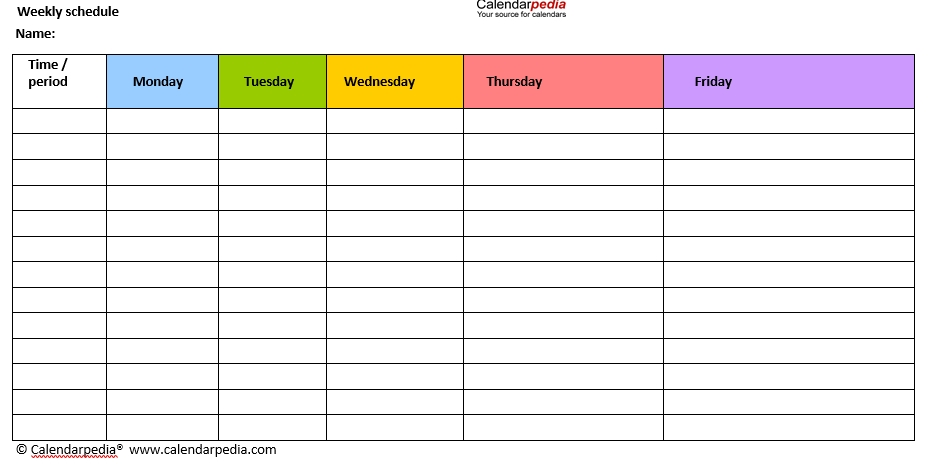 Blank Weekly Workout Schedule 1