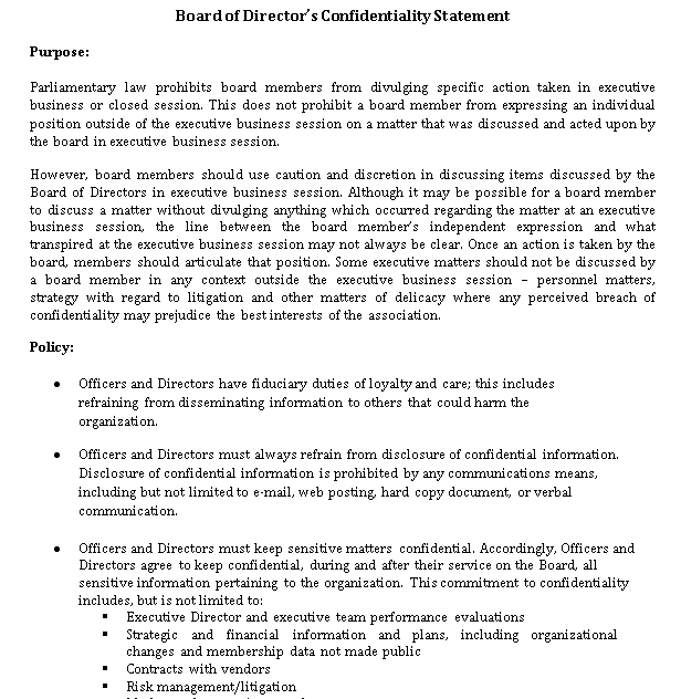 Board of Directors Confidentiality Statement