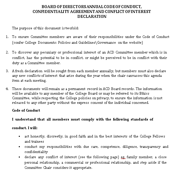 Board of Directors Meeting Confidentiality Agreement