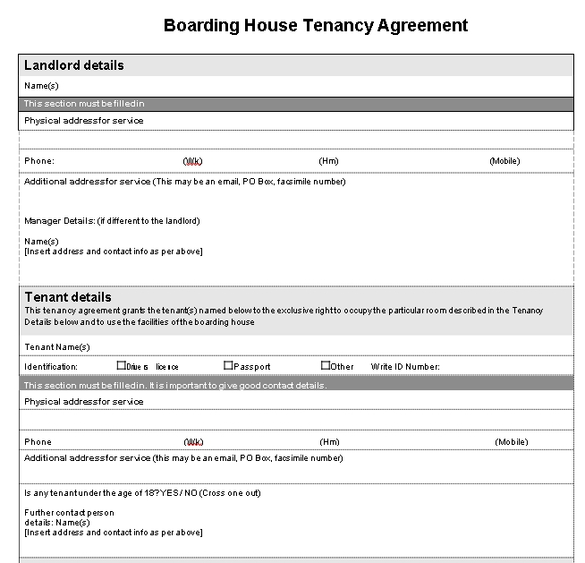 Boarding House Tenancy Agreement Template