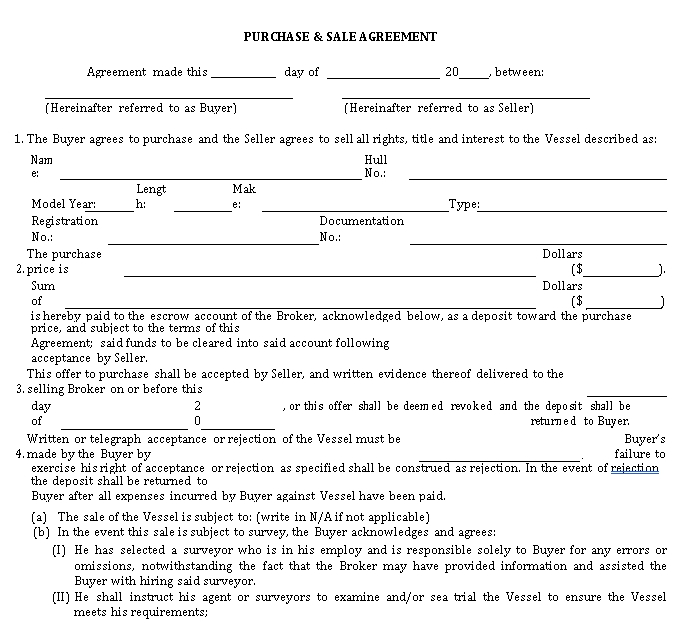Boat Sales Agreement Template
